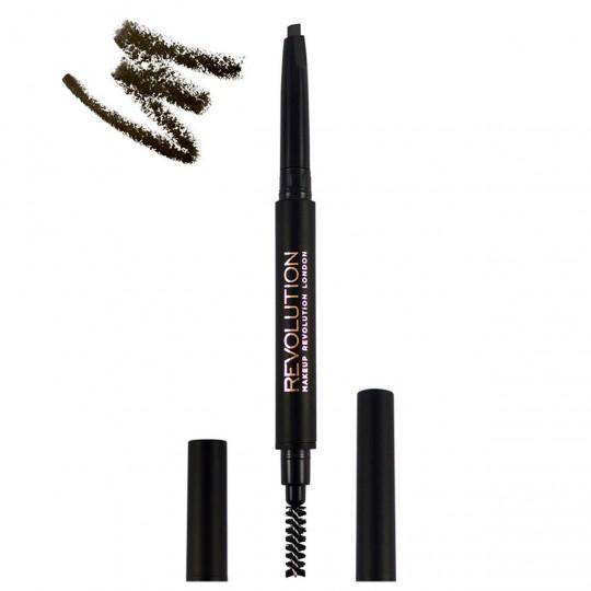 Makeup Revolution Duo Brow Definer - Dark Brown