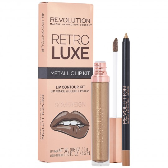 Makeup Revolution Retro Luxe Metallic Lip Kit - Sovereign
