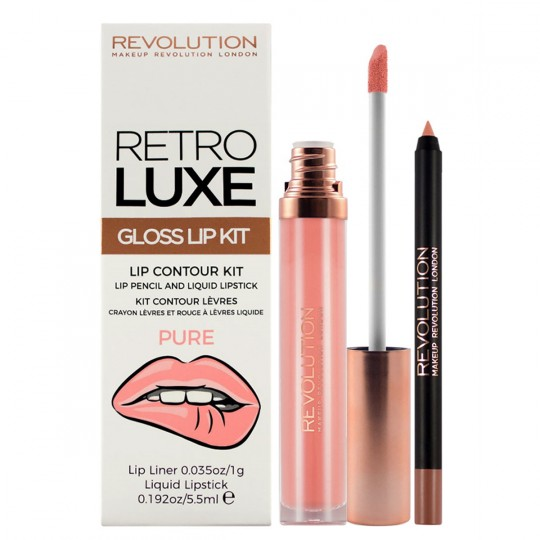 Makeup Revolution Retro Luxe Gloss Lip Kit - Pure