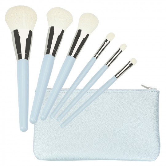 MIMO 6Pcs Makeup Brush Set with Pouch - Light Blue