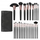 MIMO 24Pcs Makeup Brush Set with Pouch - Black Rose Gold