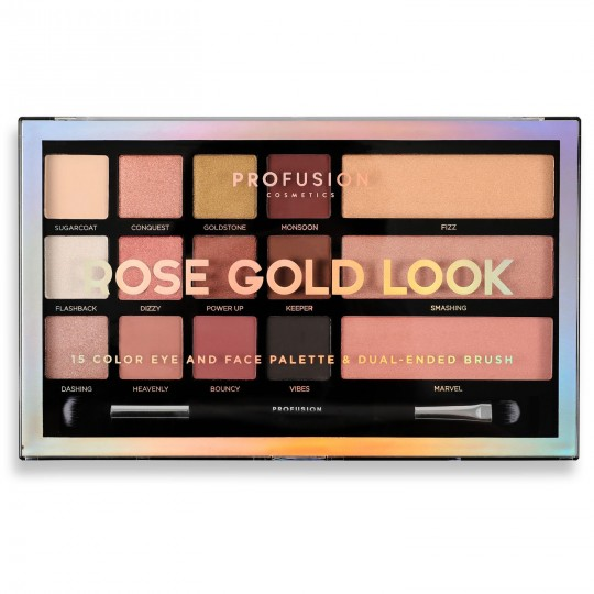 Profusion 15 Color Eye and Face Palette - Rose Gold Look
