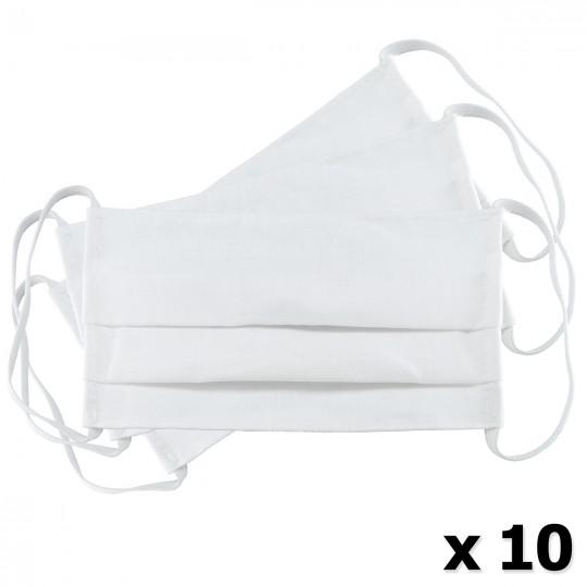 Μάσκα Υφασμάτινη Δύο Στρώσεων Πολλαπλών Χρήσεων Λευκή (100% Βαμβάκι, Unisex, Ελληνικό Προϊόν) 10τμχ