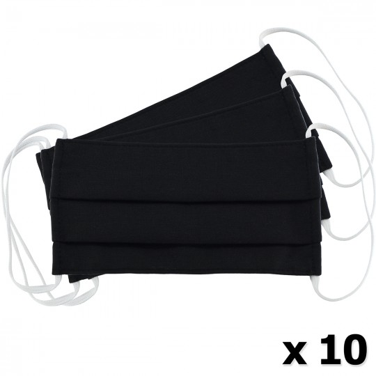 Μάσκα Υφασμάτινη Δύο Στρώσεων Πολλαπλών Χρήσεων Μαύρη (100% Βαμβάκι, Unisex, Ελληνικό Προϊόν) 10τμχ