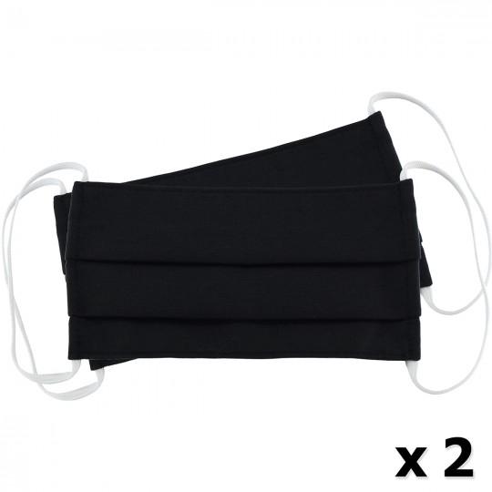 Μάσκα Υφασμάτινη Δύο Στρώσεων Πολλαπλών Χρήσεων Μαύρη (100% Βαμβάκι, Unisex, Ελληνικό Προϊόν) 2τμχ