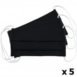 Μάσκα Υφασμάτινη Δύο Στρώσεων Πολλαπλών Χρήσεων Μαύρη (100% Βαμβάκι, Unisex, Ελληνικό Προϊόν) 5τμχ
