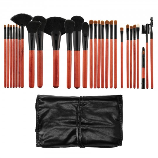 Tools For Beauty 28Pcs Makeup Brush Set with Pouch - Cherry Black