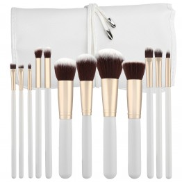 Tools For Beauty 12Pcs Kabuki Makeup Brush Set - White