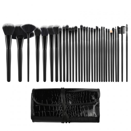 Tools For Beauty 32Pcs Makeup Brush Set with Pouch - Black