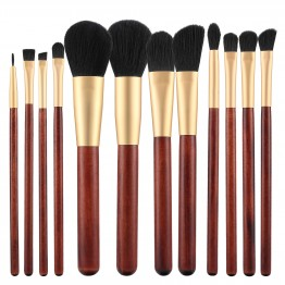 Tools For Beauty 12Pcs Makeup Brush Set - Wooden Cherry Gold