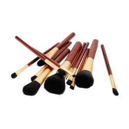 Tools For Beauty 12Pcs Brush Set - Wooden Cherry Gold