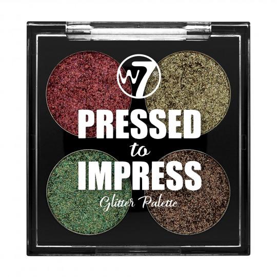 W7 Pressed to Impress Glitter Eyeshadow Palette - In Vogue